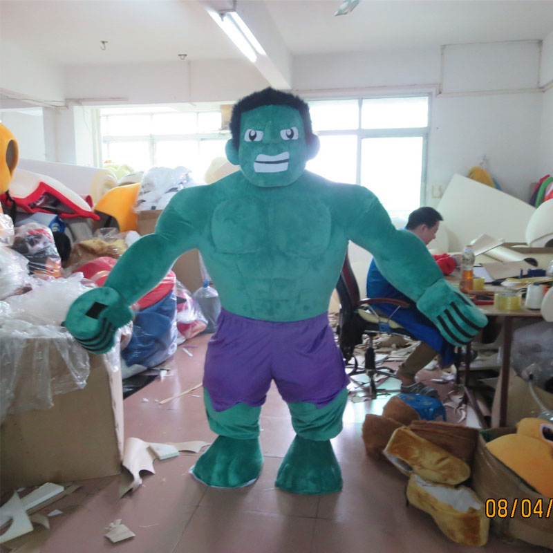The hulk mascot is dressed as an adult in Mascot from Novelty Special Use