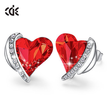 CDE Christmas Jewellery Red Heart Crystal from Swarovski Earrings Angel Wings Stud Earrings for Women Accessories Free Shipping