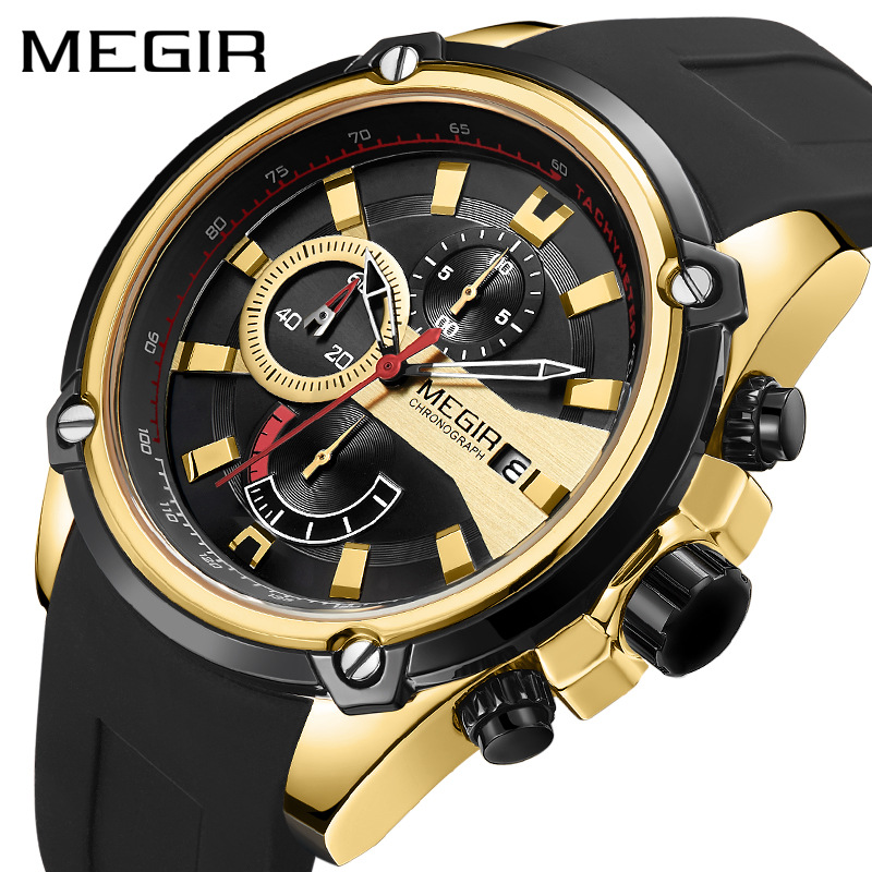 New Men's Watch True Three-eye Multi-function Sports Silicone Quartz Watch