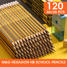 M&G 36/60/120pcs Hexagon Pre-sharpened HB School Pencils with Eraser Lead Wood Pencil Wooden Graphite Pencil Stationery School