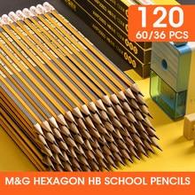 M & G hexagone pré-affûté HB école crayons avec gomme plomb bois crayon en bois Graphite crayon papeterie école