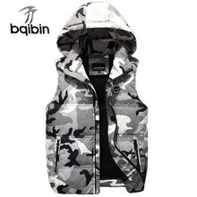 Male Camouflage Casual Vest Down New Autumn Winter 2019 Men Classic Windbreaker Parka Baggy Hooded Outerwear Sleeveless Jacket(China)