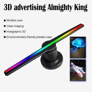 Image 3 - 3D הולוגרמה פרסום מאוורר מקרן אור תצוגה הולוגרפית LED holograma wifi מותאם אישית תמונות קטעי וידאו 224 מנורת חרוזים