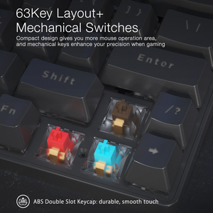Image 4 - BlitzWolf BW KB1 Tastiera Senza Fili di bluetooth Gateron Interruttore RGB 63 Tasti Layout NKRO Tipo C Meccanica di Gioco Nero Marrone Interruttore