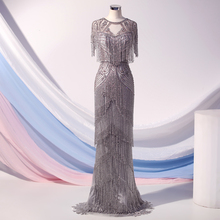 Couture Luxury Silver Crystals Evening Dresses Long  Floor Length High Neck Cap Sleeve Mermaid Evening Gown Robe De Soiree