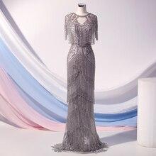 Couture lüks gümüş kristaller abiye uzun kat uzunluk yüksek yaka Cap Sleeve Mermaid gece elbisesi Robe De Soiree