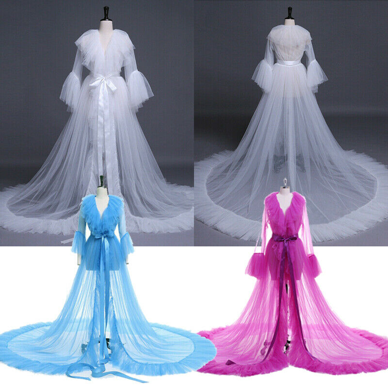 Sexy Women Lingerie Robes Lace Sheer Mesh Tulle Perspective V Neck Layered Ruffles Maxi Floor Long Bath Robe Lady Gown Sleepwear