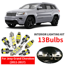 13x Canbus Error Free LED Interior Light Kit Package for 2011-2017 Jeep Grand Cherokee accessories Map Dome Trunk License Light