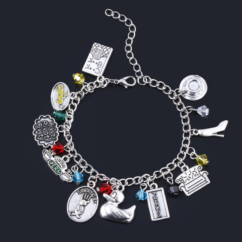 MIDY Dropshipping Trendy TV Show Friends Bracelets Central Perk Coffee Time Smelly Cat Charms Bangle Lady Girl Jewelry Xmas Gift image