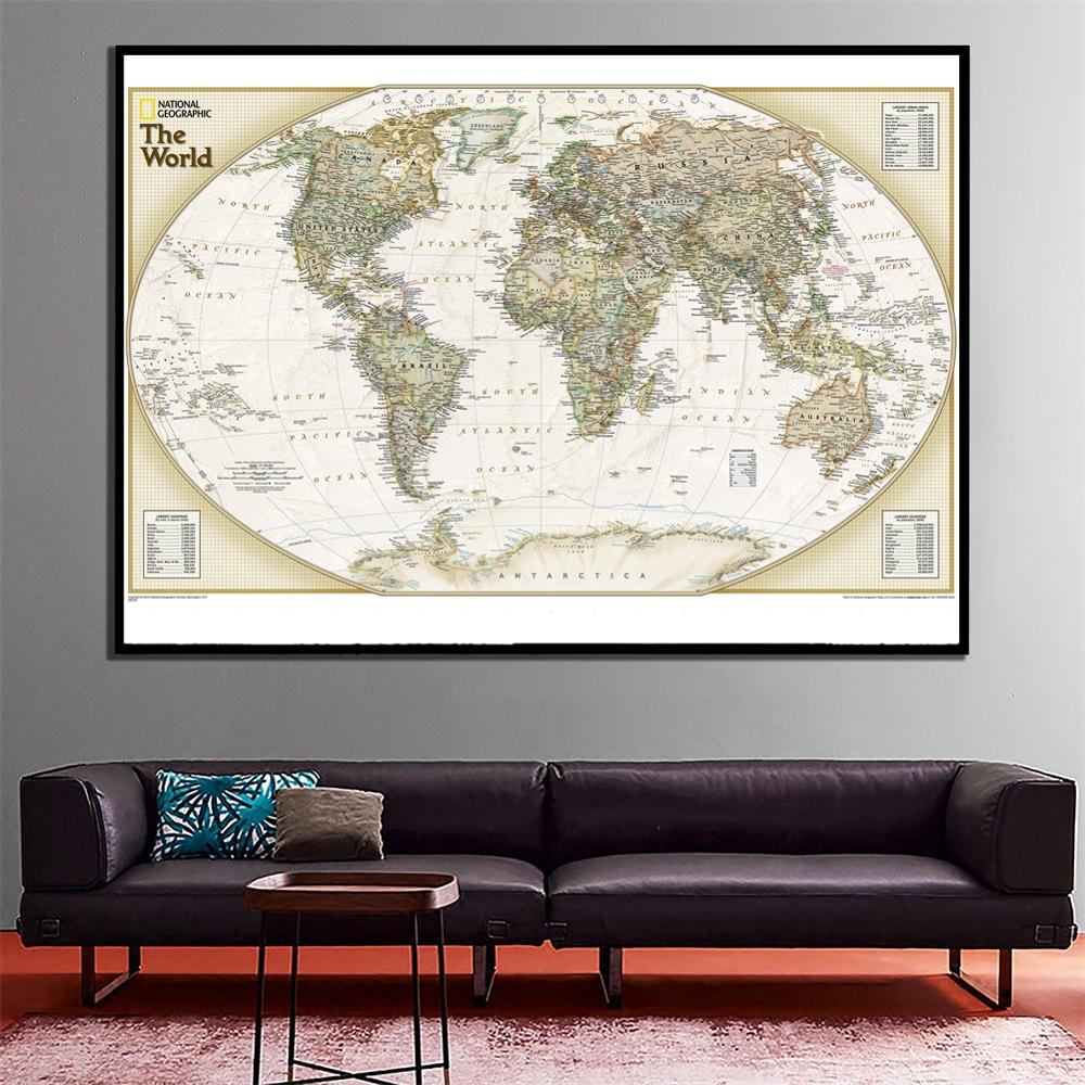 60x90cm The World Political Map HD Wall Decoration Map For School Office Classroom Wall Decor And Education