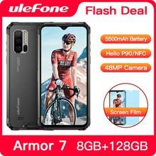 Ulefone armadura 7 ip68 impermeável áspero smartphone android 9.0 nfc helio p90 5g wifi 6.3 8 8 8gb + 128gb 48mp 5500mah telefone móvel