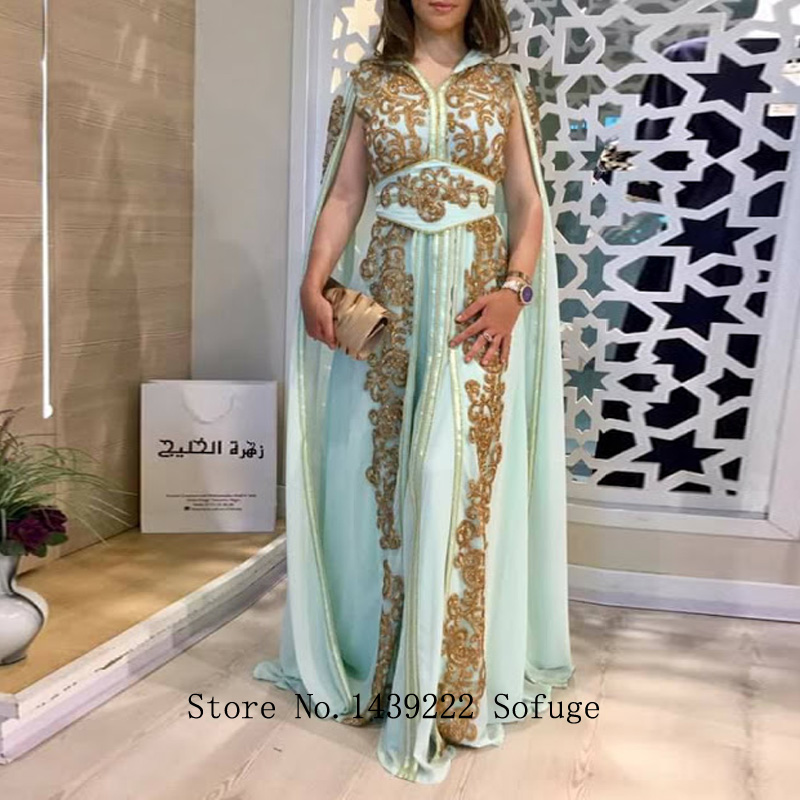 Mint Chiffon Moroccan Kaftan Evening Dresses Lace Appliques Mother Dress Arabic Muslim Special Occasion Evening Gown