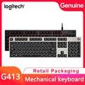 Logitech G413 gaming mechanische tastatur full-größe backlit mechanische tastatur metall gebürstet aluminium legierung tastatur