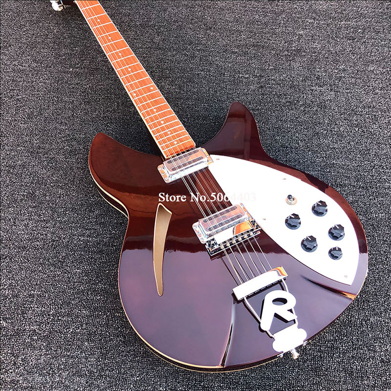 High quality <font><b>360</b></font> electric <font><b>guitar</b></font>, 12 strings, mid-air core, red brown paint, double output, dot inlay, Korean pickup, postage image