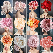 AZQSD Oil Painting By Number Floral Woman DIY Figure Art Coloring Numbers Canvas Portrait Picture Living Room Home Decor