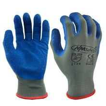 12 pares luvas de trabalho palma revestido de borracha luvas de trabalho de segurança azul poliéster algodão luvas de trabalho doméstico homem melhor aperto