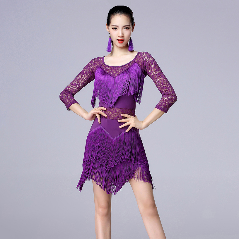 New Fashion 2019 Plus Size Women Dance Wear Salsa Samba Dresses Half Sleeves Floral Lace Girls Latin Dance Dress (with Pants)
