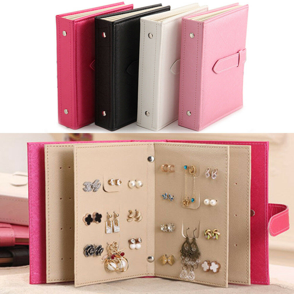 PU Leather Earring Storage Box Creative Jewelry Display Holder Jewellery Organizer Women Stud Earrings Collection Book
