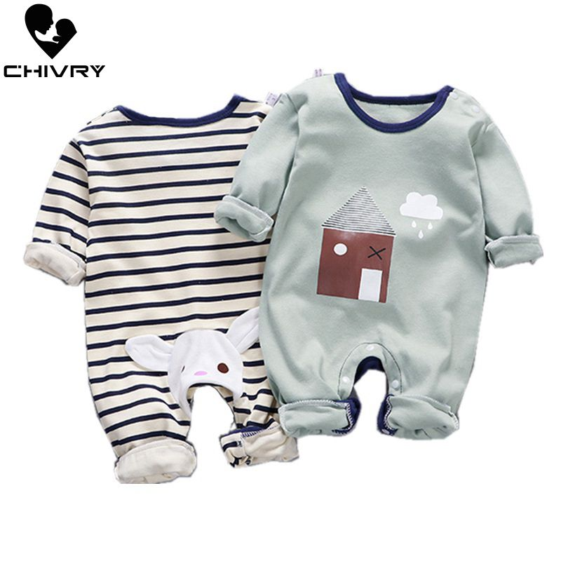 Newborn Baby Boys Girls Rompers Spring Summer Long Sleeve Cute Striped Cartoon Print Jumpsuit Toddler Playsuit Infant Clothing