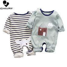 Newborn Baby Boys Girls Rompers Spring Summer Long Sleeve Cute Striped Cartoon P