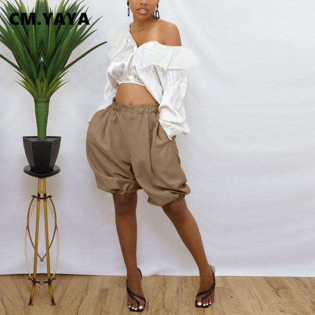 CM.YAYA Women Shorts Solid Elastic Waist Loose Wide Leg Short Pants with Pockets Fashion Casual High Streetwear Summer Trousers 1