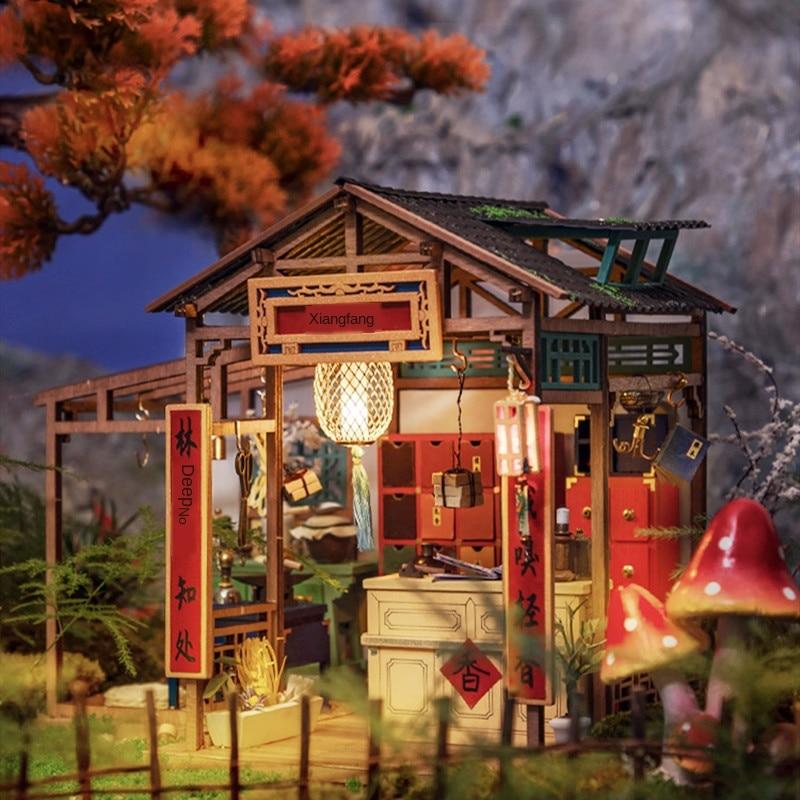 Robotime Ruolai Chinese -Style DIY Cabin Handmade House Home Model Gift