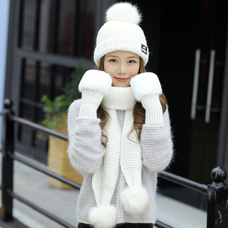 Three Sets Sweet Lovely Fashion Solid Hats And Scarf For Women Kawaii Gloves Knitted Hat With Scarf Winter Gloves Set For Girl
