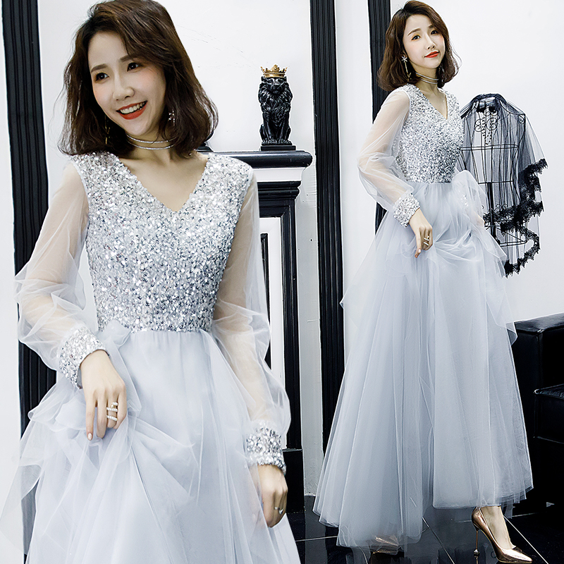 It's Yiiya Evening Dress Elegant Sliver Sequins Evening Dresses Long Sleeve LF169 Formal Gowns Long V-neck Robe De Soiree