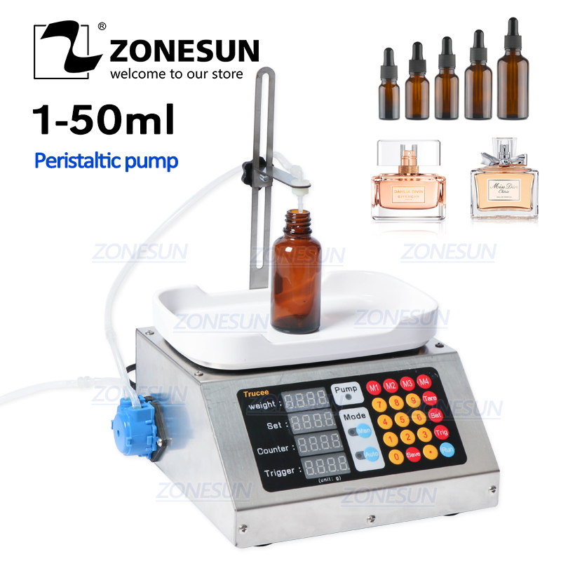 ZONESUN 0-50ml Small Automatic CNC Liquid Filling Machine 110V-220V Perfume Weighing Filling Machine Oral Liquid Solution Filler