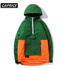 Color Splicing Hip Hop Hooded Zipper Front Pocket Printed Men Coat Harajuku Fashion Streetwear Casual Outwear Hoodies Jackets