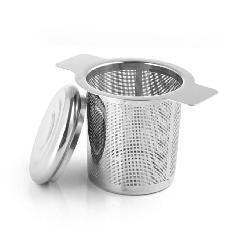 Kitchen Tea Mesh Metal Infuser Stainless Steel Cup Tea Leaf Strainer Spice Filter With Cover Filter Tea Strainer With 2 Handles
