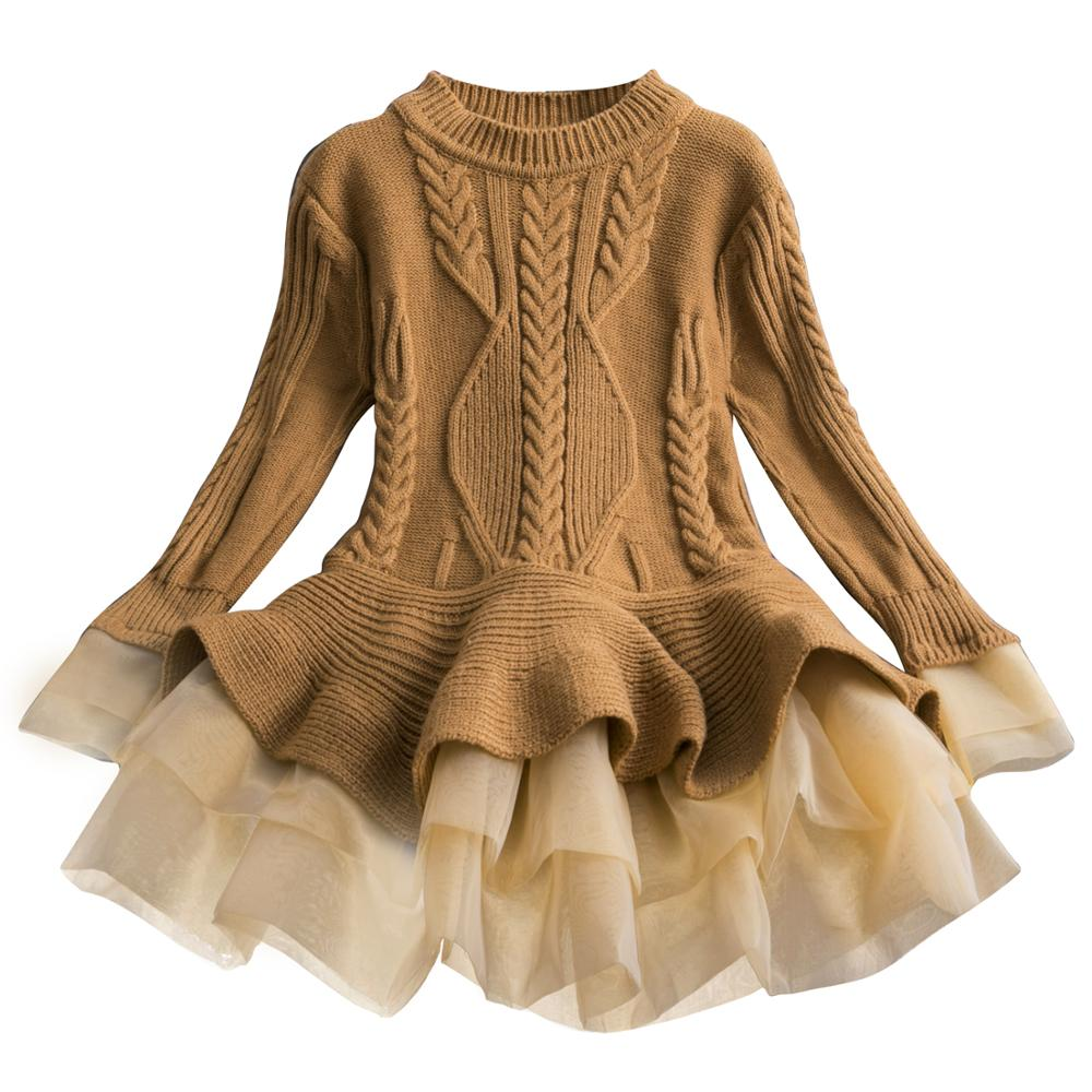 Xmas Winter Autumn Girl Dress Children Clothes Kids Dresses For Girls Party Dress Long Sleeve Knitted Sweater Toddler Girl Dress 2