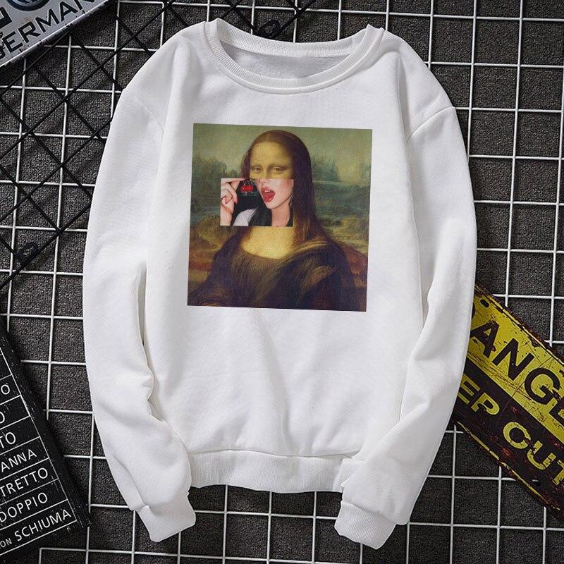Mona Lisa cartoon fun fashion print hoodies spoof personality fashion Harajuku sweatshirt New casual loose women clothing hoodie