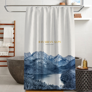 Cortinas de ducha con pintura de paisaje de estilo chino 2020, recién decoradas, baño de poliéster, curatina, douchegordijn natuur T303