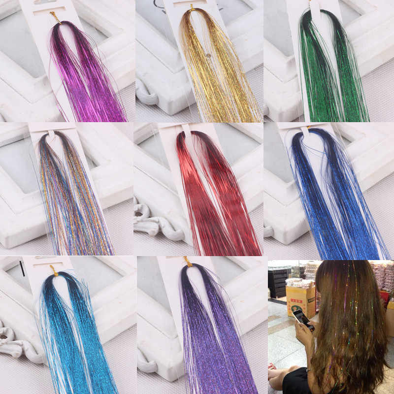 Tinsel Sparkle 100 PCS Strands Hair Highlights Party Extensions Holographic Glitter Colorful laser silk seamless colorful shiny