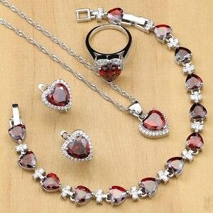 Image 2 - Kalp gümüş 925 gelin takı setleri kırmızı kübik zirkon boncuk dekorasyon kadın düğün küpe ile taş kolye seti