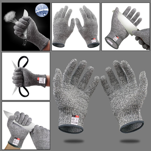 High-strength Grade Level 5 Protection Safety Anti Cut Gloves Kitchen Cut Resistant Gloves for Fish Meat Cutting Safety Gloves 4