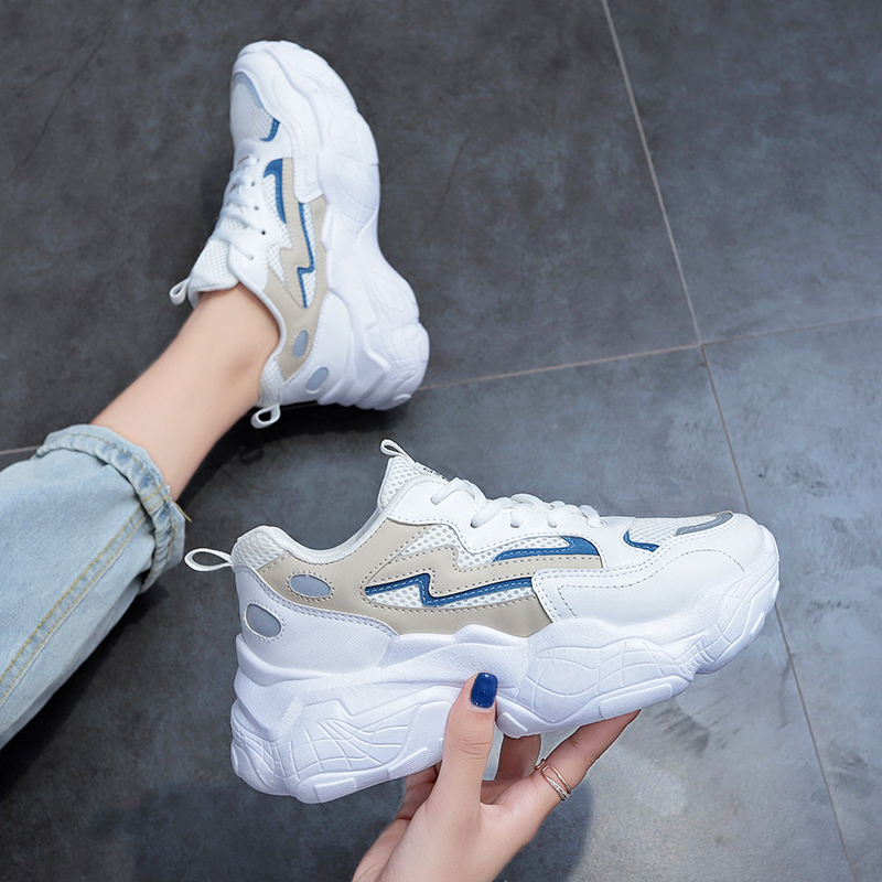 2019 New Vintage Platform Sneakers Fashion Women Shoes White Lace Up Chunky Sneakers Female Casual Dad Trainers Basket Femme
