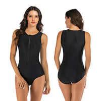 Profissional de banho uma peça maiô feminino zíper monokini maiô esporte bodysuit senhoras nadar mais tamanho S-2XL