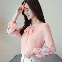 Womens Shirts 2019 Autumn outfit New Blouses Long Sleeve Sweet Bottoming Bow tie Embroidery Chiffon 605F