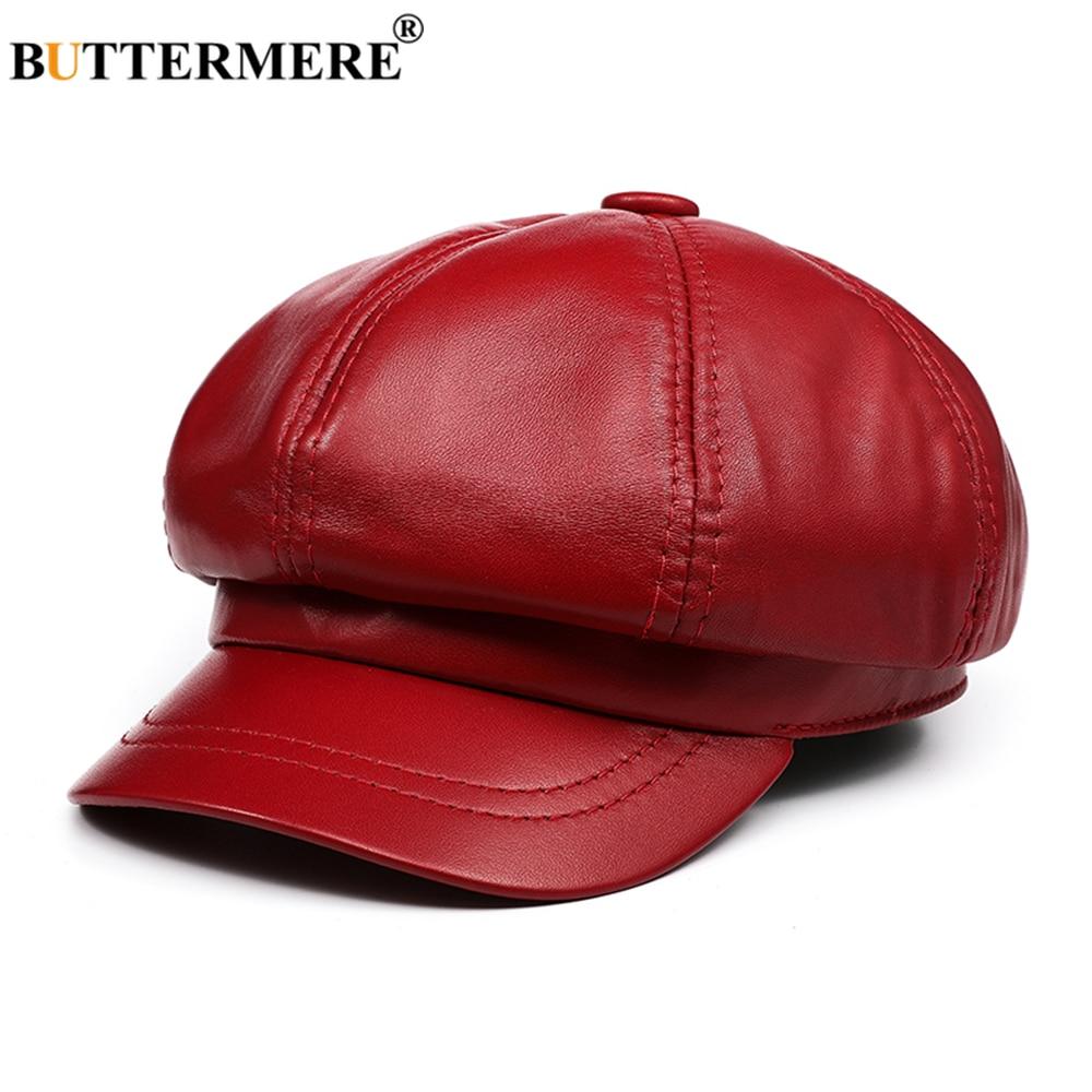 Red Genuine Leather Vintage Hat Women Newsboy Cap 2021 New Baker Boy Cap High Quality Brand Ladies Winter Octagonal Cap