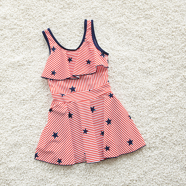 New Style KID'S Swimwear Girls Swimwear Fashion Cute Star Pattern Women's Big Kid Dress-Bathing Suit