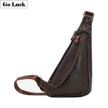 GO-LUCK Brand Genuine Leather Casual Sling Chest Pack Men's Crossbody Shoulder Bag Men Messenger Bags Solid Zipper Style Design