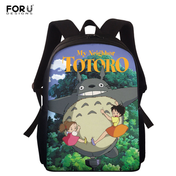FORUDESIGNS My Neighbor Totoro Print 15 inch School Bags Girls Boys Anime School Backpack Teenagers Book Bag Student Rucksack