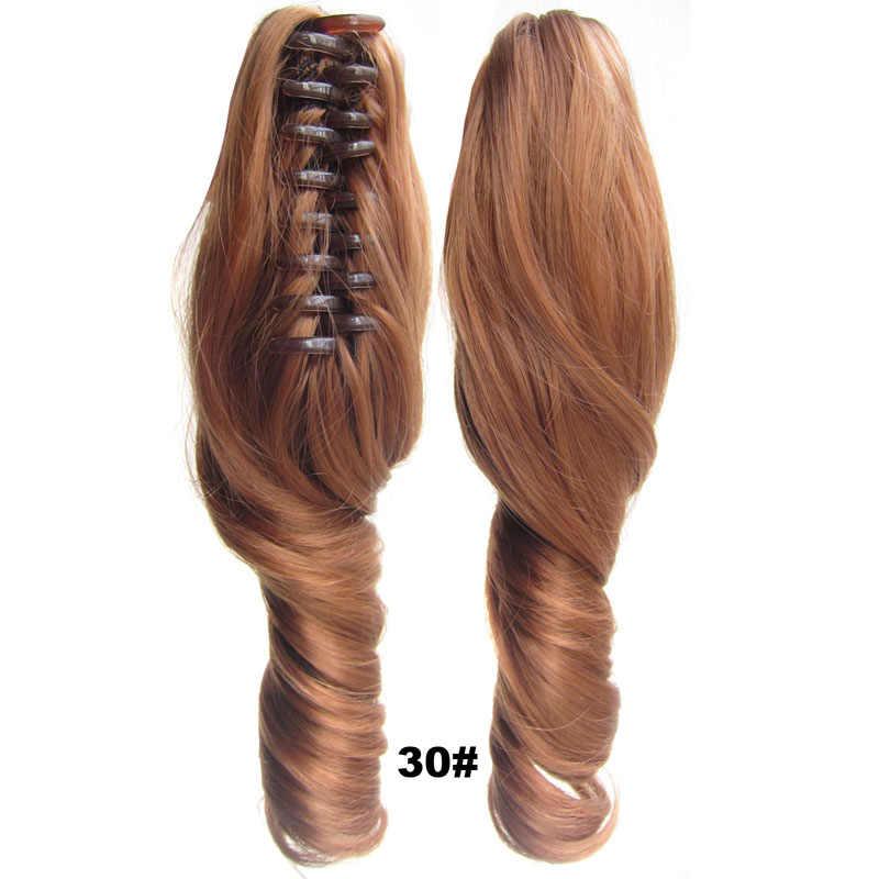 Mulheres elegantes sintéticas garra clipe de rabo de cavalo grampos em extensões de cabelo curto ondulado encaracolado para meninas festa diária