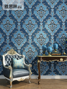 High quality European style 3D luxury high-end bedroom living room wallpaper atmospheric non-woven Damascus blue wallpaper high quality american wallpaper 3d rural non woven european style wallpaper luxury retro tv background home living room bedroom