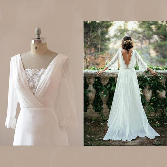 Hot Sale Charming White Chiffon Backless Bridal Wedding Dresses with Three Quarter Sleeves Lace Wedding Gowns for Bride V Neck 2