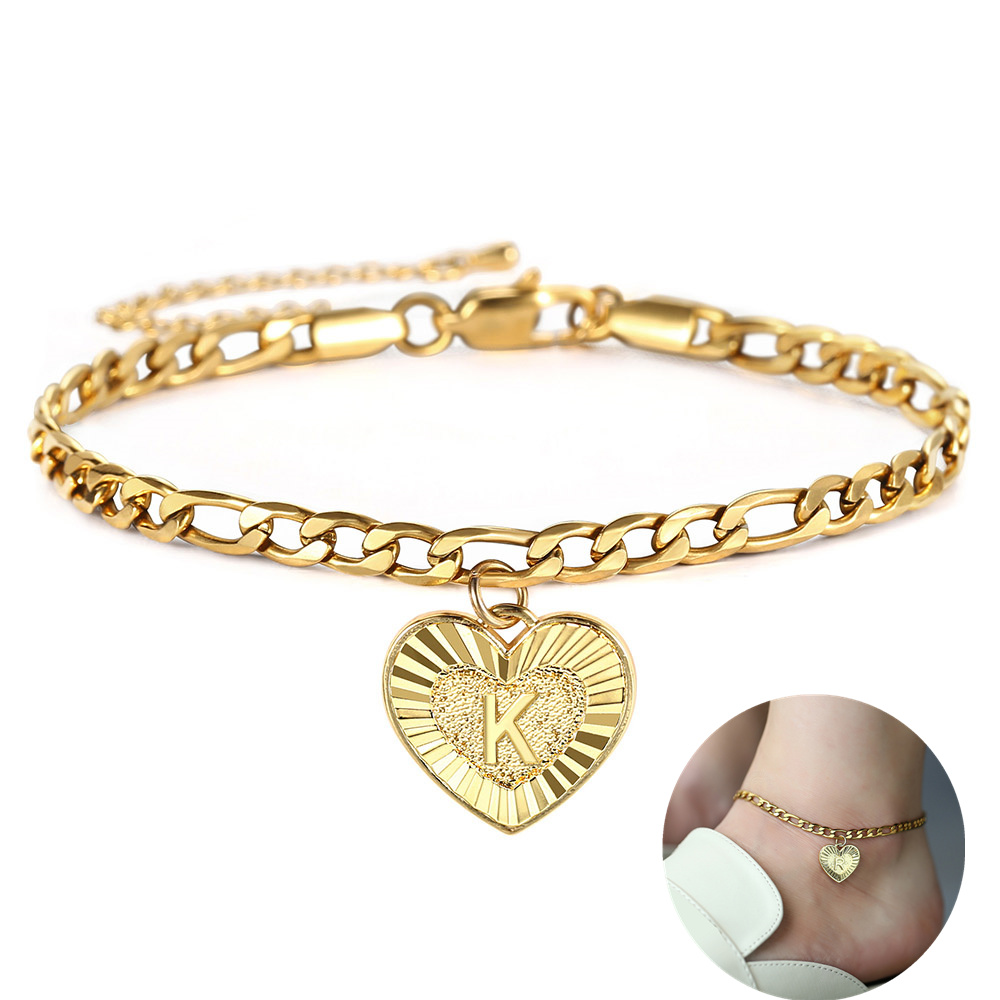 A-Z Initial Letter Anklets for Women Stainless Steel Gold Alphabet Charm Anklet Figaro Link Chain Summer Foot Jewelry Gifts KA16