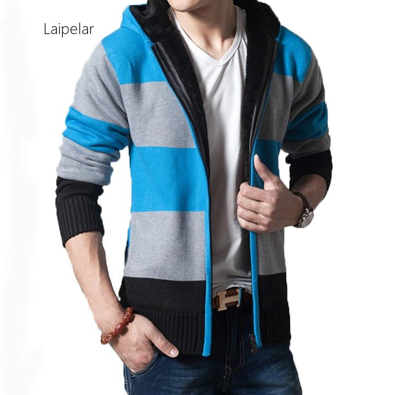 Laipelar New 2020 Cardigans Men's Thickened Striped Special Offers Sweaters With Hoodies Warm Men's Knit Outerwear Men Coats