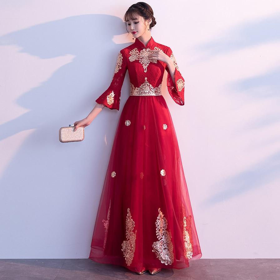 US $14.14 14% OFFLuxus Chinesische Traditionelle Hochzeit Kleid Frauen  Braut Rot Stickerei Qipao Cheongsam Kleid Orientalischen Abendkleider Lange  Qi